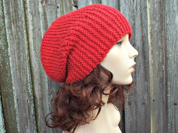 1a24548aa16 Chunky Knit Womens Hat Mens Hat Red Slouchy Beanie Red Hat Red Beanie - Red  Knit Hat Red Winter Hat Knit Accessories - READY TO SHIP