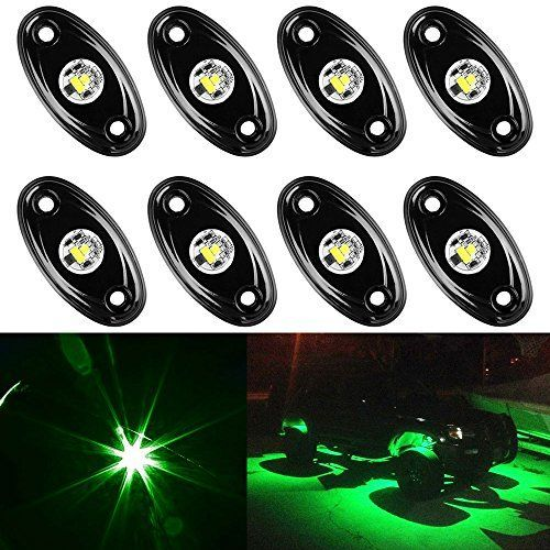 Amak 8 Pods LED Rock Lights Kit Green Underbody Glow Trail