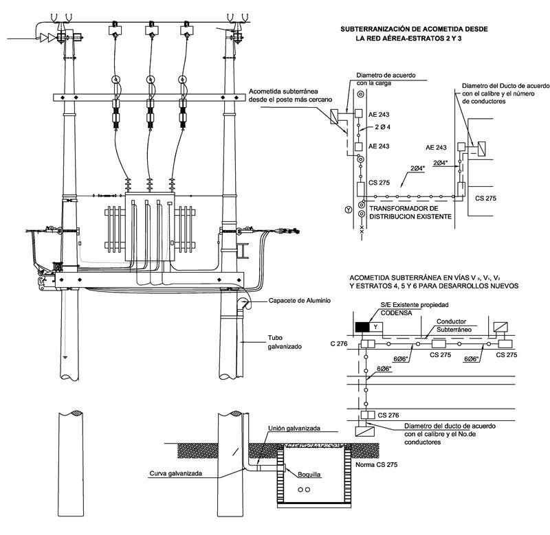 Ae239 Acometidas Subterraneas En B T Desde Un Transformador En Poste Likinormas Instalacion Electrica Plano Instalacion Electrica Subestacion Electrica