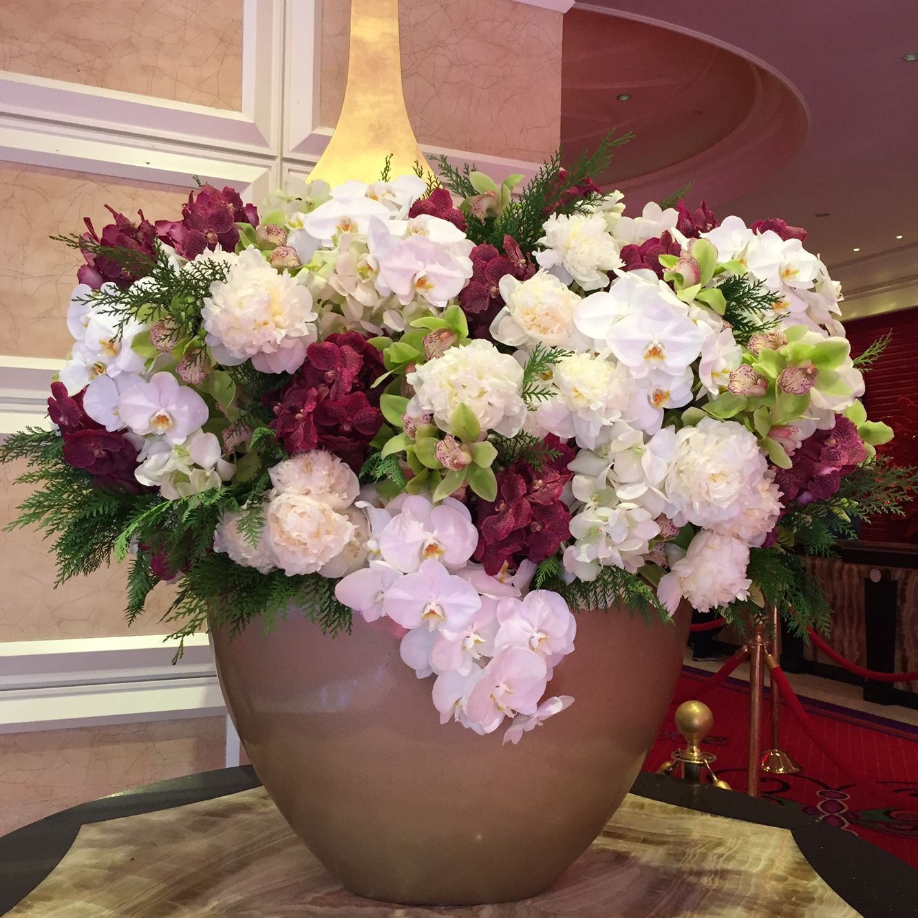 Gorgeous flower arrangements at the encore hotel lobby in