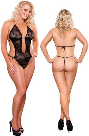 87d1090fa32d8 Plus Size Sexy Black See Thru Lace Teddy Lingerie - Queen Size ...