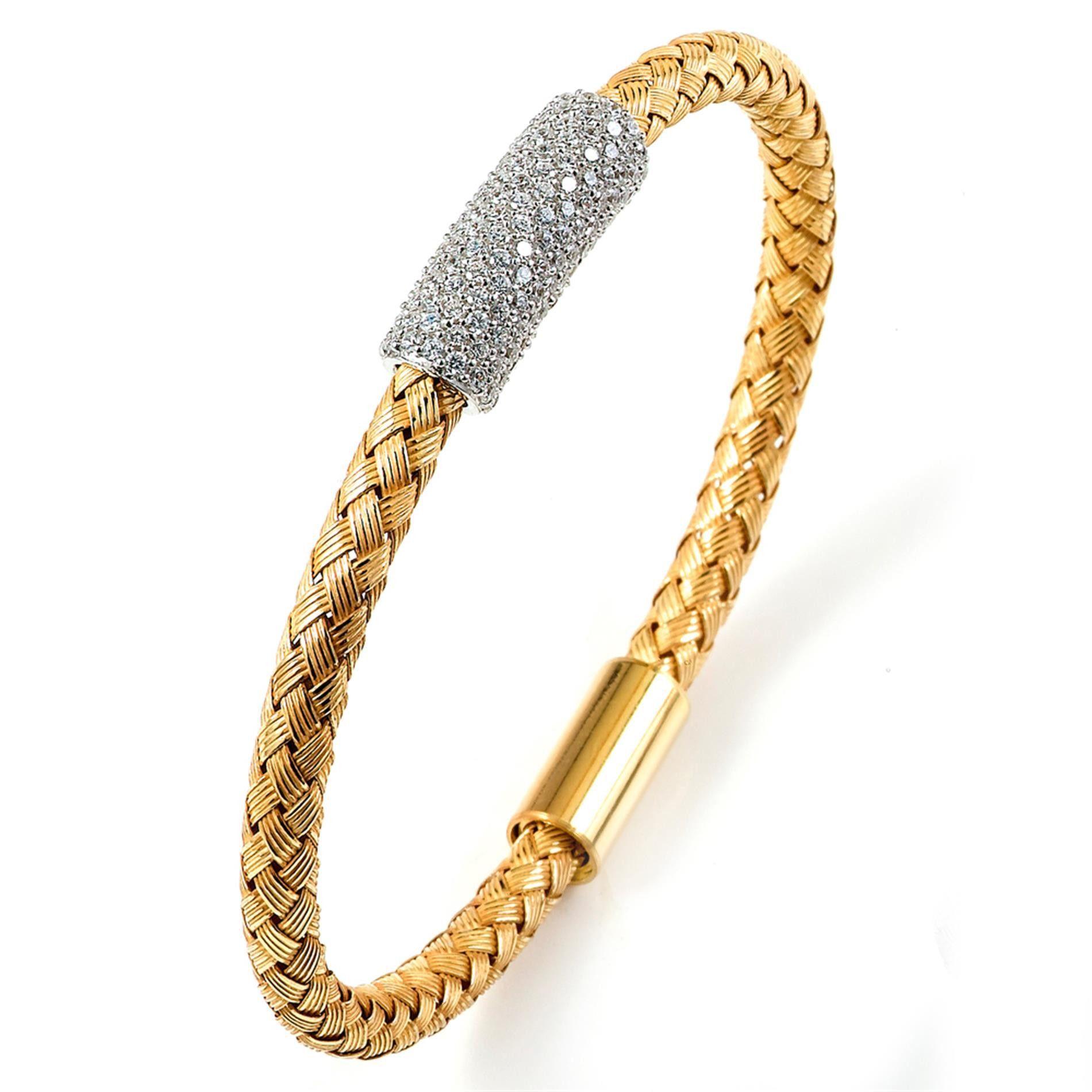 Buy sterling silver bangle bracelet yellow gold set cubic zirconia