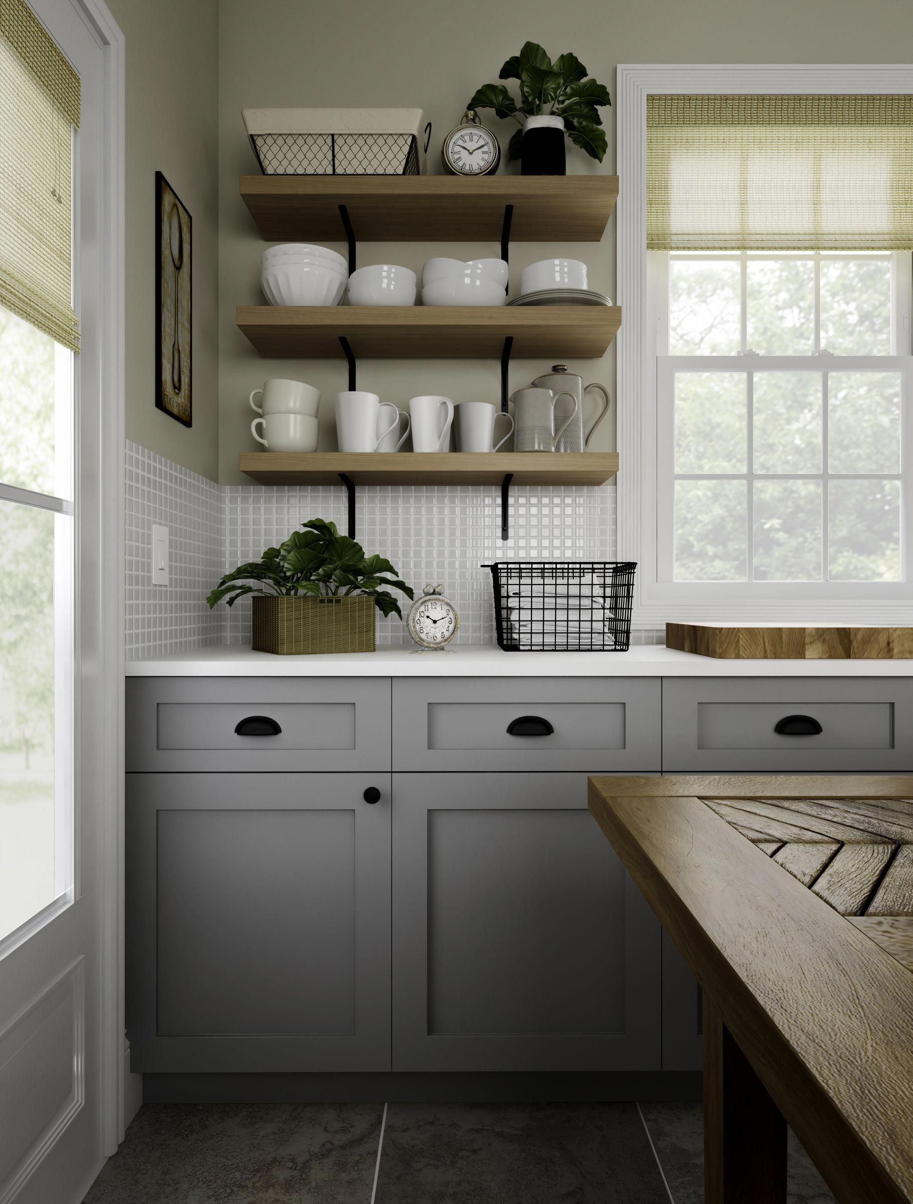 expand your vision of the farmhouse kitchen this one has open shelves wire baskets half ova on farmhouse kitchen open shelves id=24699