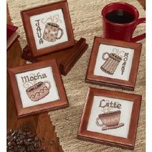 Craftways Coffee Wood Coasters Counted Cross Stitch Kit