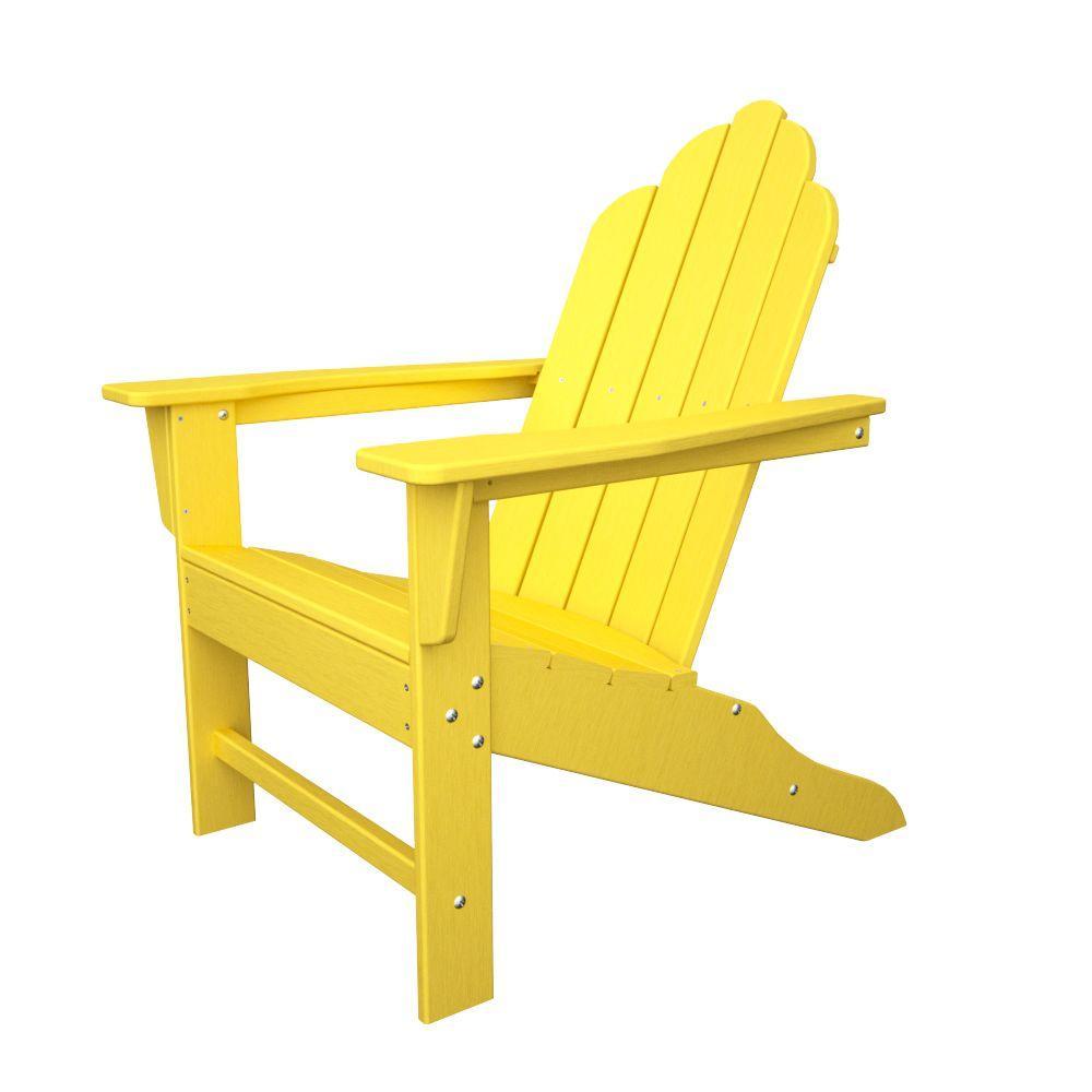Polywood Long Island Lemon Plastic Patio Adirondack Chair Eca15le