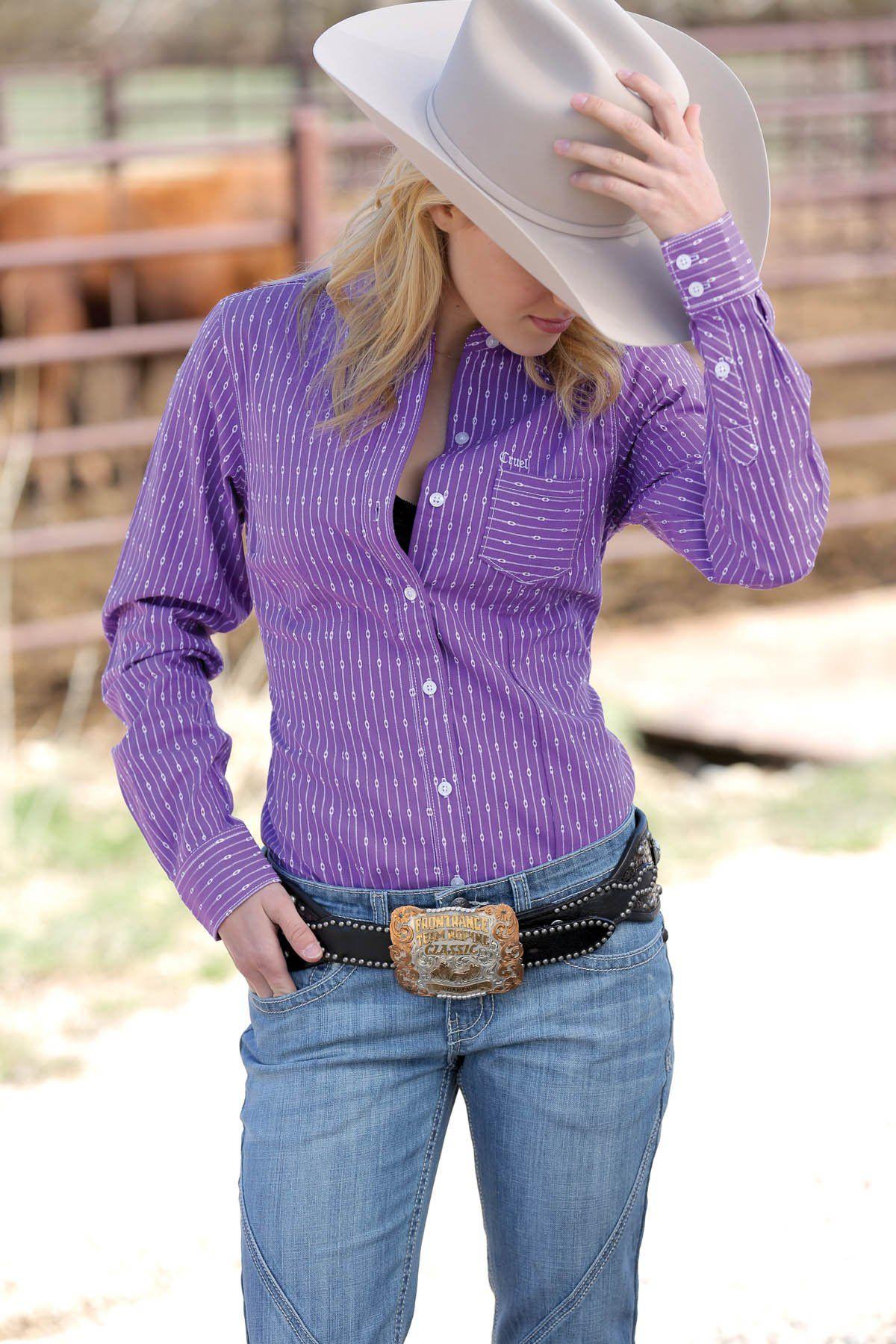 581486d50 Western Shirts : Purple Stripe Button Down Shirt - Cruel Girl ...