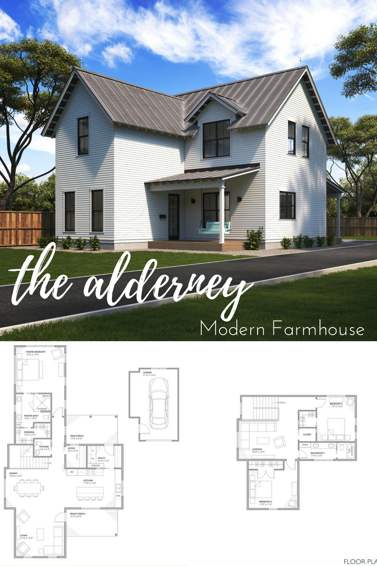 The Alderney Modern Farmhouse Design Two Story Modern Farmhouse Plan With 2306 Squar Modern Farmhouse Floorplan Modern Farmhouse Floors Modern Farmhouse Plans
