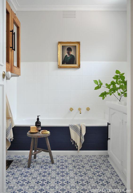 Budget DIY Bathroom Update   Bathroom   Pinterest   Tile tub ...
