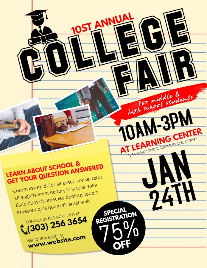 College Fair And Open Day Poster And Flyer Template School