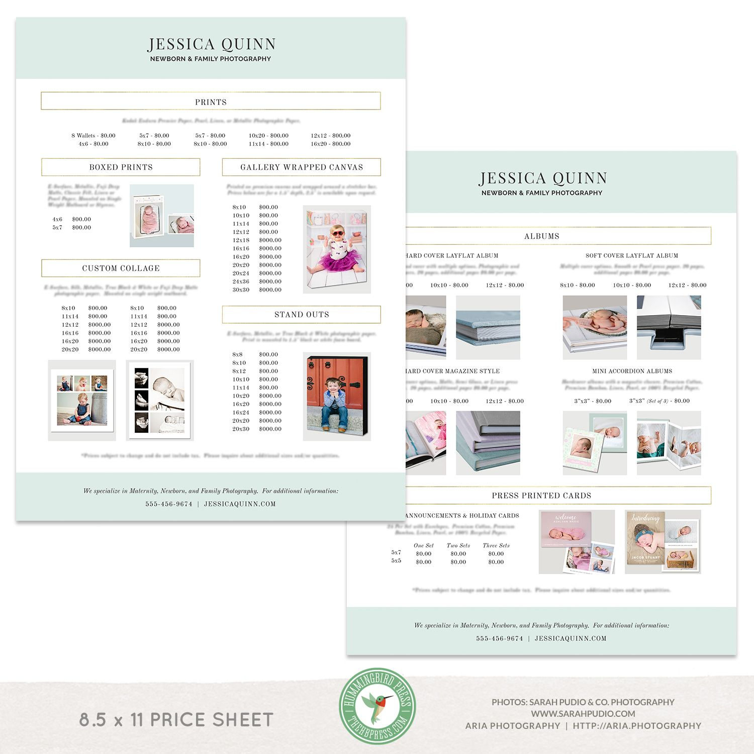 X Photography Price List Template Letter Sized Price Sheet