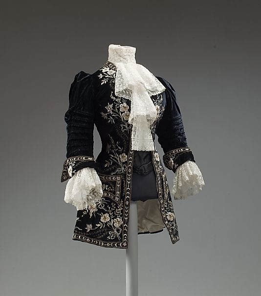 """c1905 Ladies Riding Ensemble of Silk, Metal Thread and Ostrich Feathers (on the accompanying hat not shown here). Label - """"Morin Blossier, Paris""""   To see more views, including the hat go to http://www.metmuseum.org/Collections/search-the-collections/80003818#"""