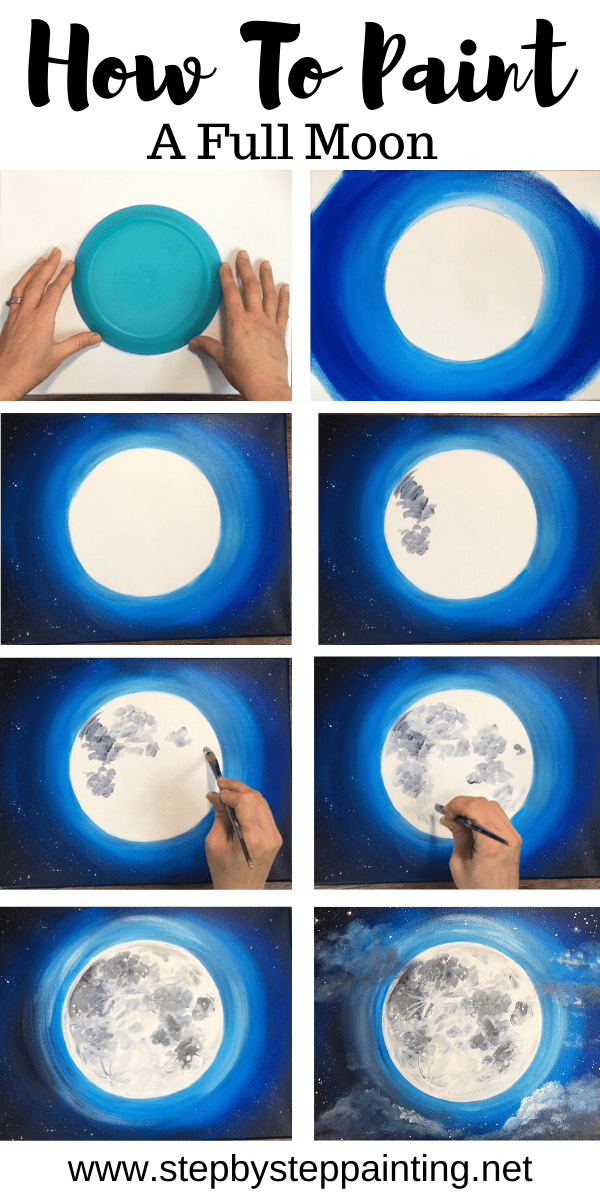Moon Painting - Step By Step Acrylic Painting Tuto