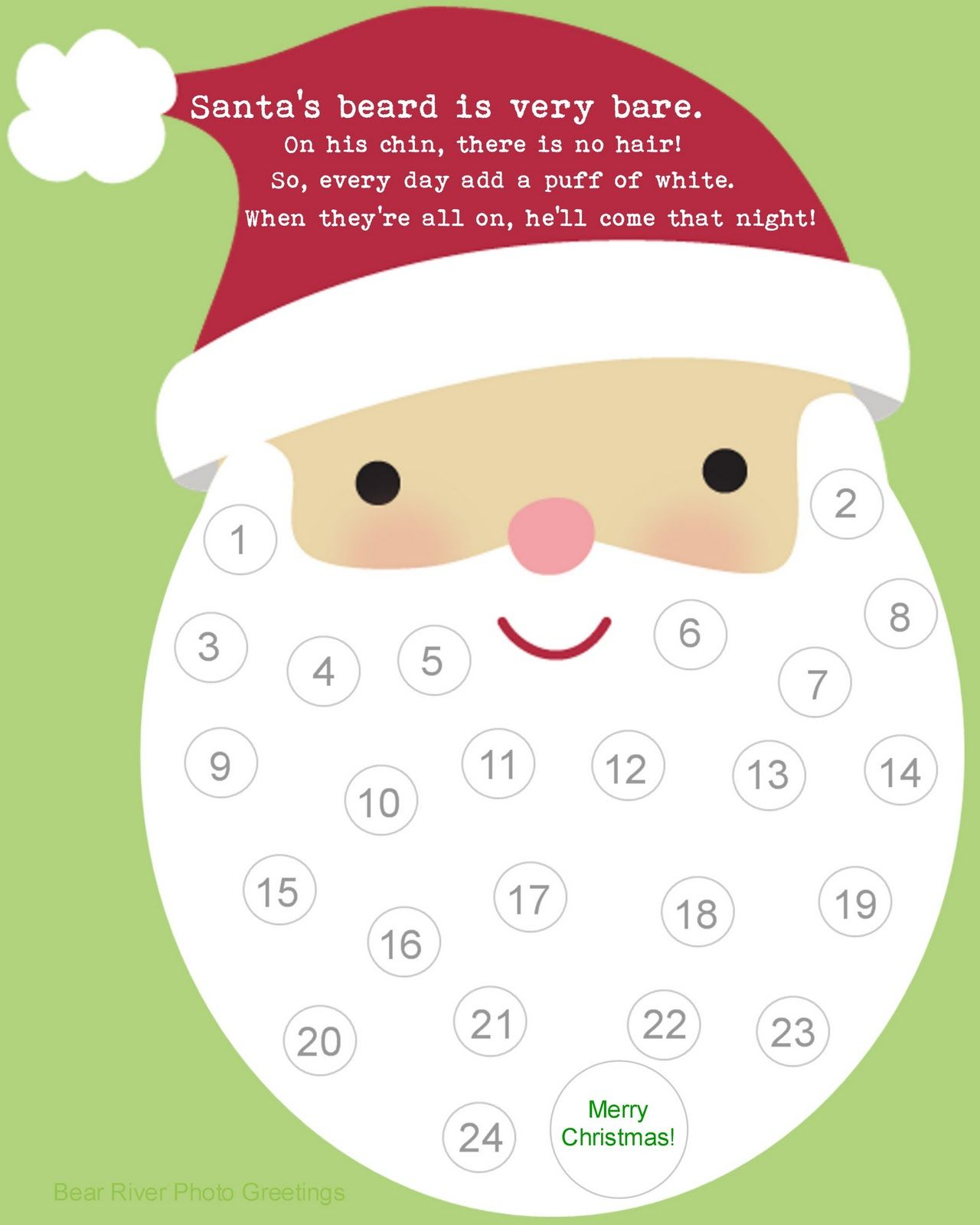 Mama Bear Gets Chatty Printable Countdown Calendar For SantaS