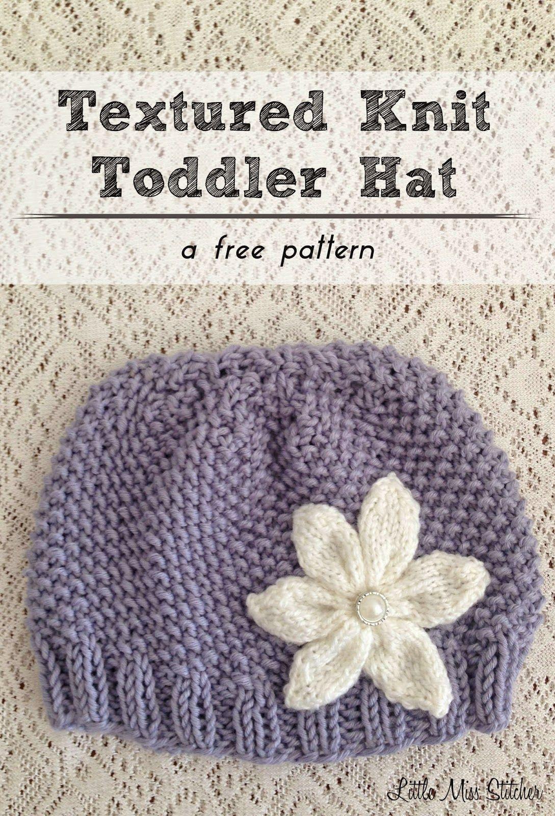 Little Miss Stitcher: Textured Knit Toddler Hat Free Pattern | Knit ...
