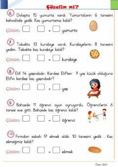1.sınıf çıkarma işlemi problemleri Language: Turkish Level/group: 1.sınıf School subject: Matematik Main content: Problem Other contents: problem