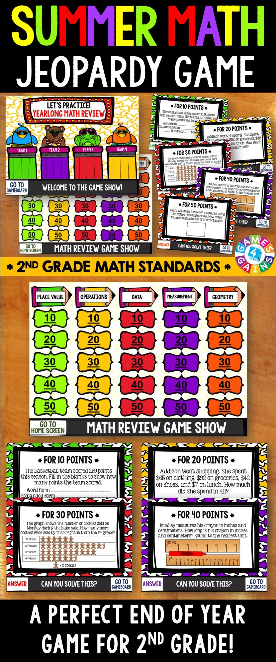 End of the year math jeopardy 2nd grade math review