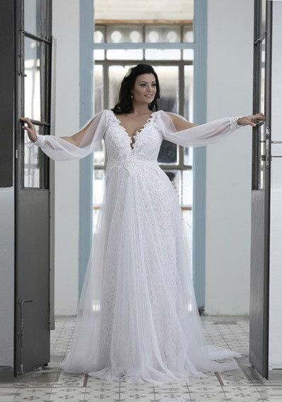 PS - Empire waist plus size wedding dress with long sleeve ...