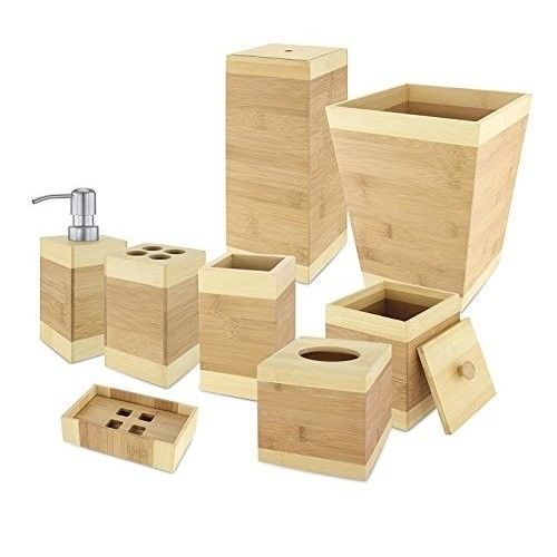 Wastebasket Home Basics Bamboo Bathroom Accessory Collection