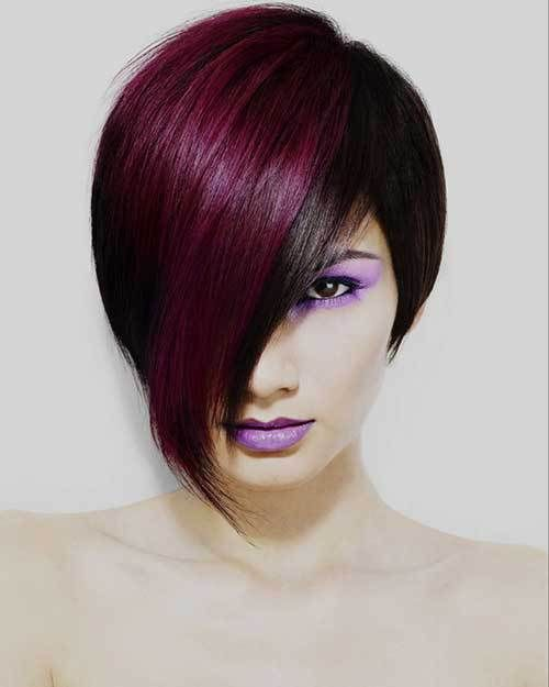 15 Two Tone Hair Color Ideas For Short Hair Crazyforus Cool Hair Color Hair Color Purple Short Hair Styles