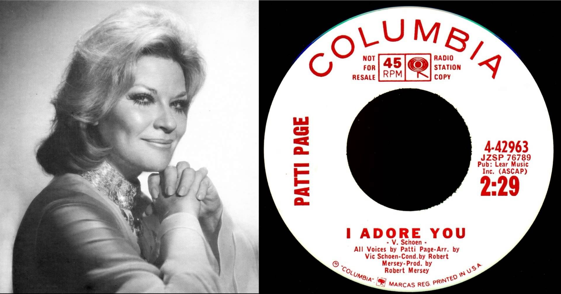 Patti Page - I Adore You 1964 Adult Contemporary hit (before Billboard hat  such a