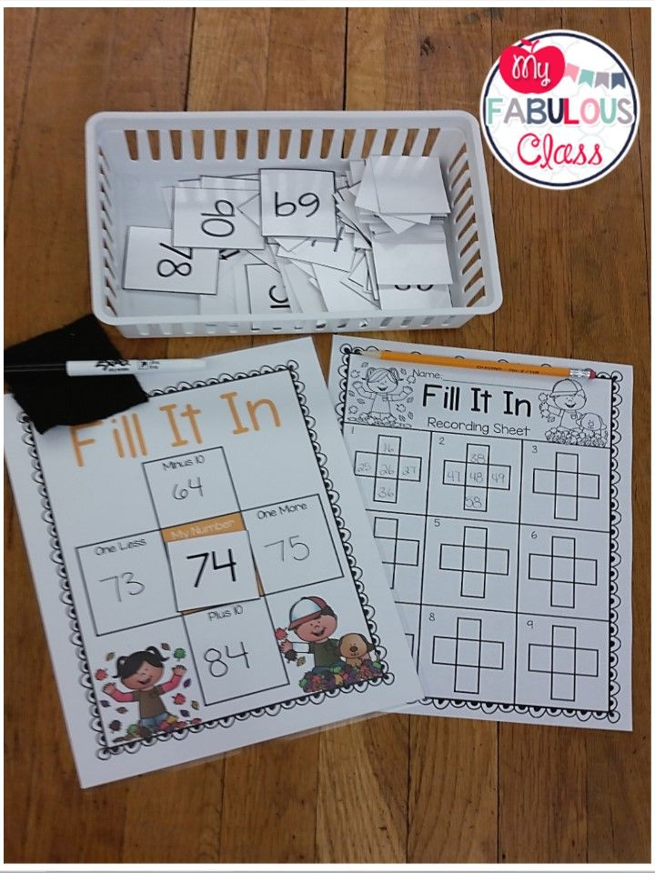 Fall Fill It In, 1 more, 1 less, 10 more, 10 less games | Math, Math ...
