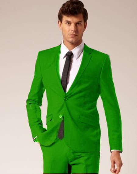 SKU#R-637 Mens Italian Design Apple Green Lime Slim Fit Suit $175 ...