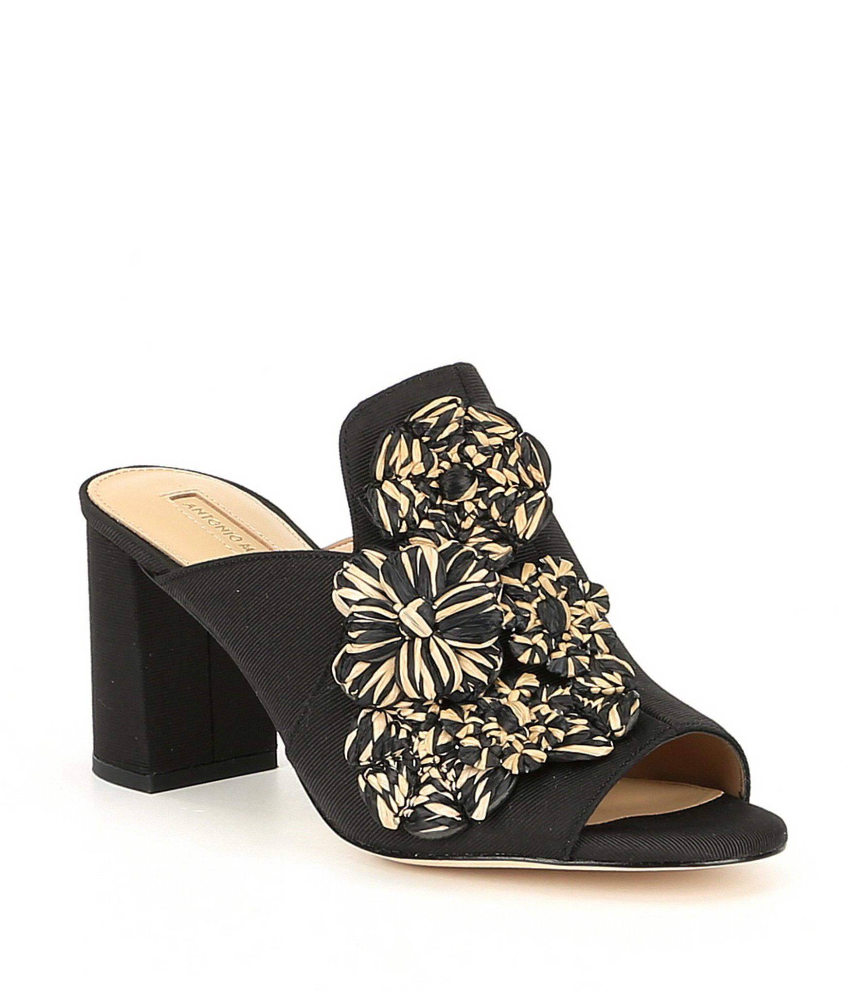 37329e09ba07 Antonio Melani Barna Raffia Flower Embellished Block Heel Dress Mules
