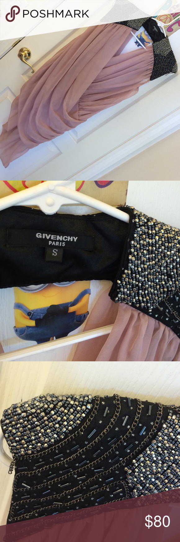 Givenchy sexy chiffon sequin shoulder dress size S Givenchy sexy beige color chiffon sequin shoulder dress size S; received as a gift few years ago,never wear, just preowned; no trade please,thanks💝 Givenchy Dresses