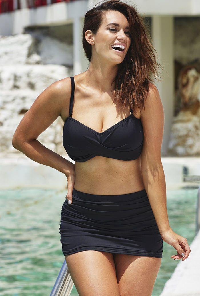 56db91d694 Valentine Black Bandeau Bikini with Shirred Skirt