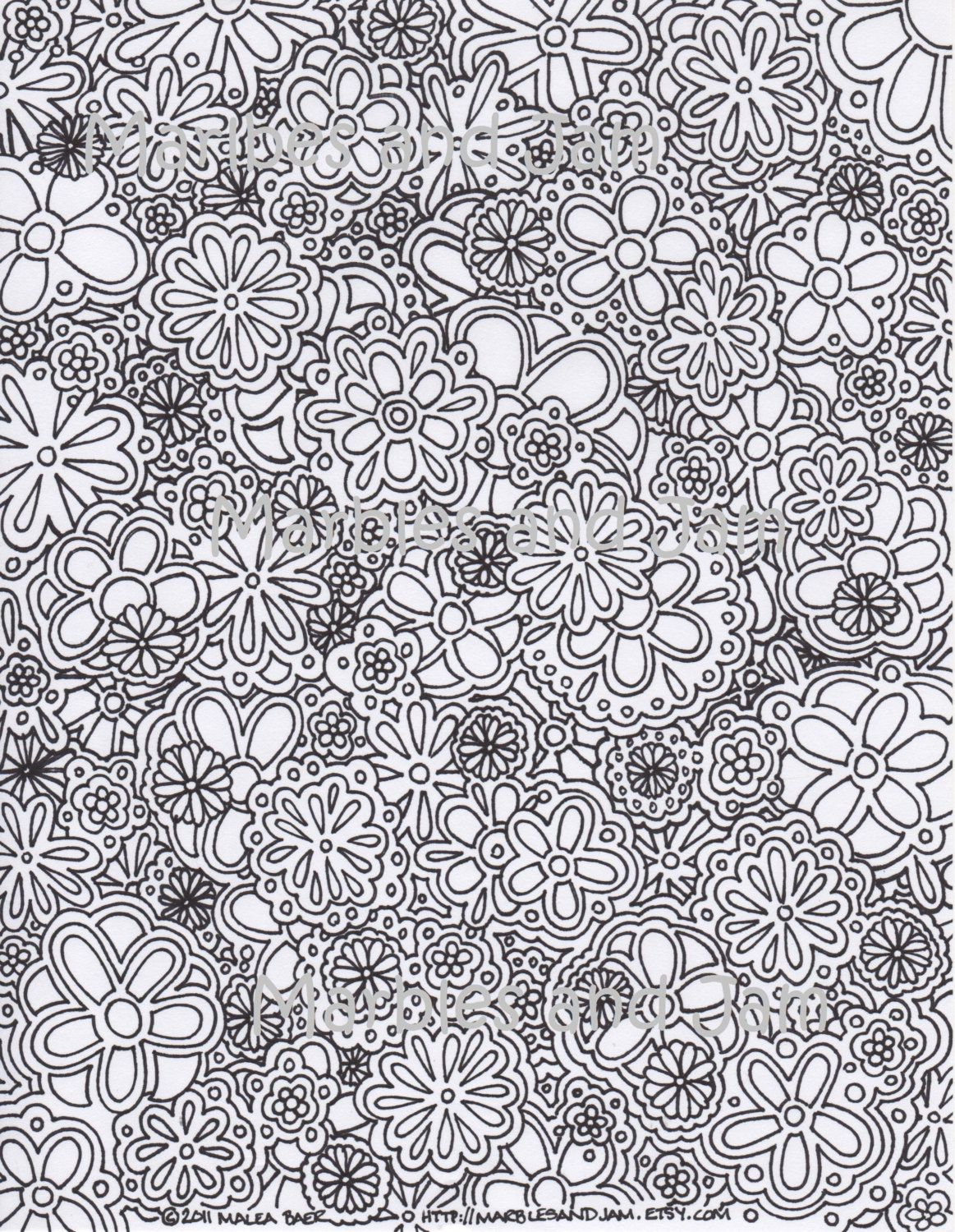 Coloring pages for adults abstract - Items Similar To Flowers Abstract Adult Printable Coloring Page On Etsy