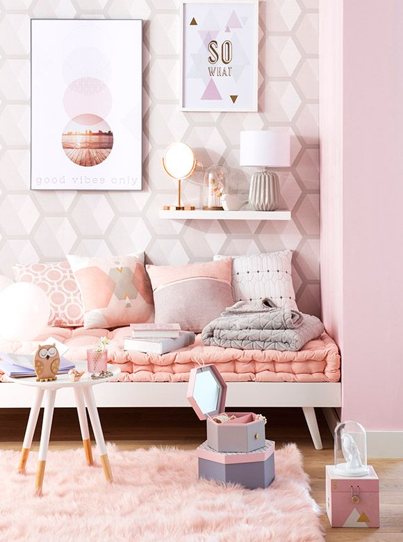 tendance d co graphik pastel maisons du monde ici le rose poudr est l 39 honneur coup de. Black Bedroom Furniture Sets. Home Design Ideas