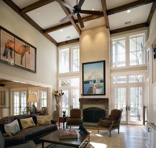 15 Interiors With High Ceilings Home Design Lover High Ceiling Living Room House Design Dream Living Rooms