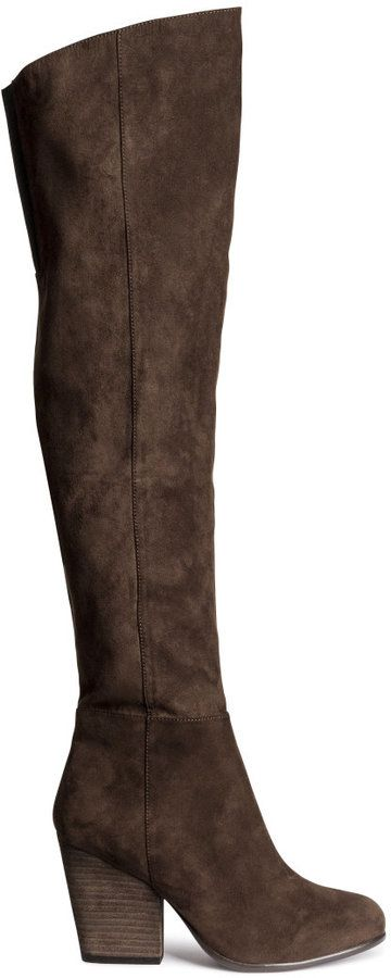 7e57de5d5ddbe H&M - Knee-high Boots - Dark brown - Ladies | Boots | Shoes, Brown ...