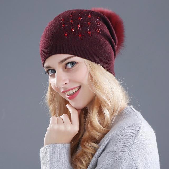 Xthree women s winter hat Rabbit fur wool knitted hat Shining Rhinestone  the female of the mink e26eed7a8b87