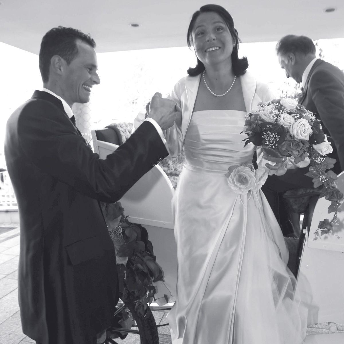 Isolde Kostner and Werner Perathoner wearing Carlo Pignatelli creations at  their #weddingday. #matrimonio #sposo #groom #sposa #bride #weddingdress  #weddin…