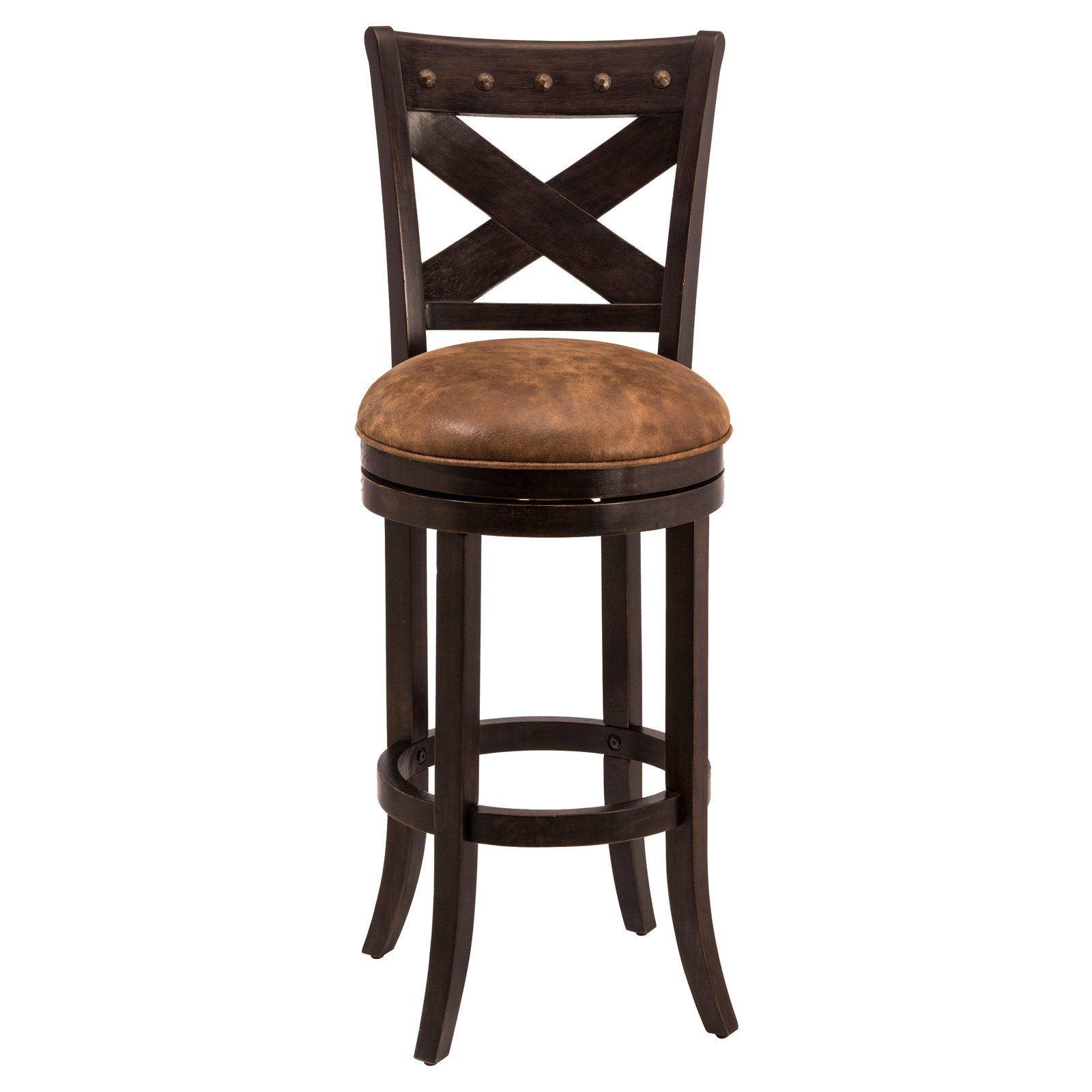 Hawthorne Collection 24 Faux Leather Counter Stool in Brown and Red