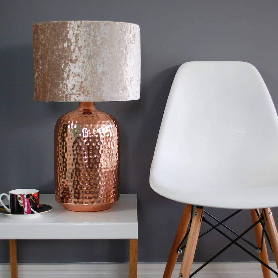 Are You Interested In Our HEMMERED COPPER TABLE LAMP BASE? With Our CRUSHED  VELVET LAMPSHADE SHADE You Need Look No Further.