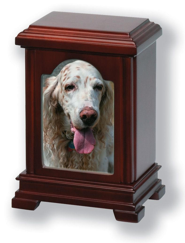 Wooden Photo Frame Cremation Pet Urn In Cherry Oak Mahogany Finish
