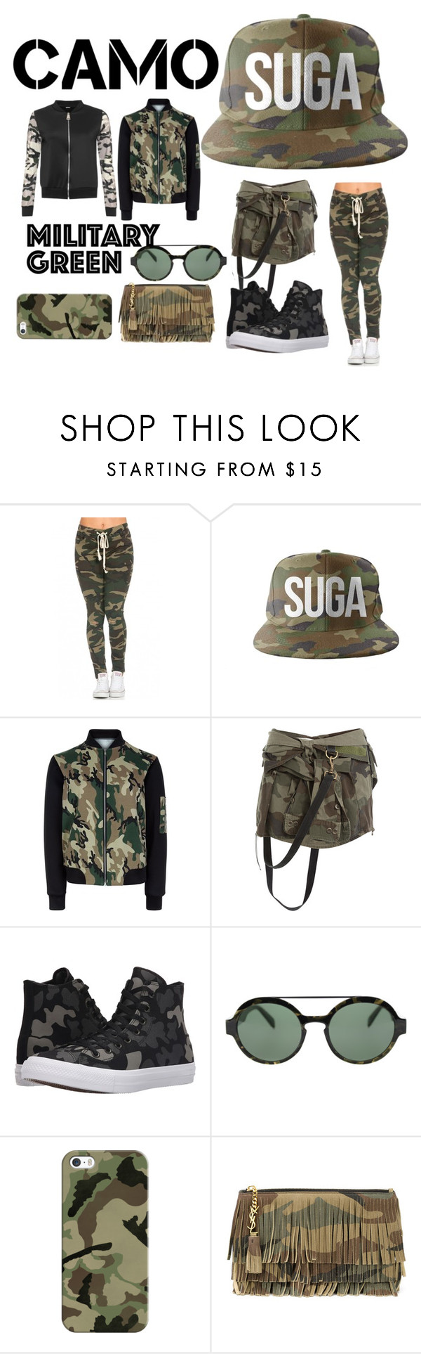 """""""Military Green"""" by iuliaiulia-1 ❤ liked on Polyvore featuring New Look, Faith Connexion, Converse, Italia Independent, Casetify, Yves Saint Laurent, WearAll and camostyle"""