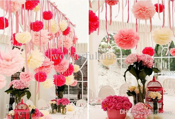 Tissue Paper Ball Decorations 10Pcs Colorful Tissue Paper Flower Ball Tissue Paper Pom Poms 30Cm