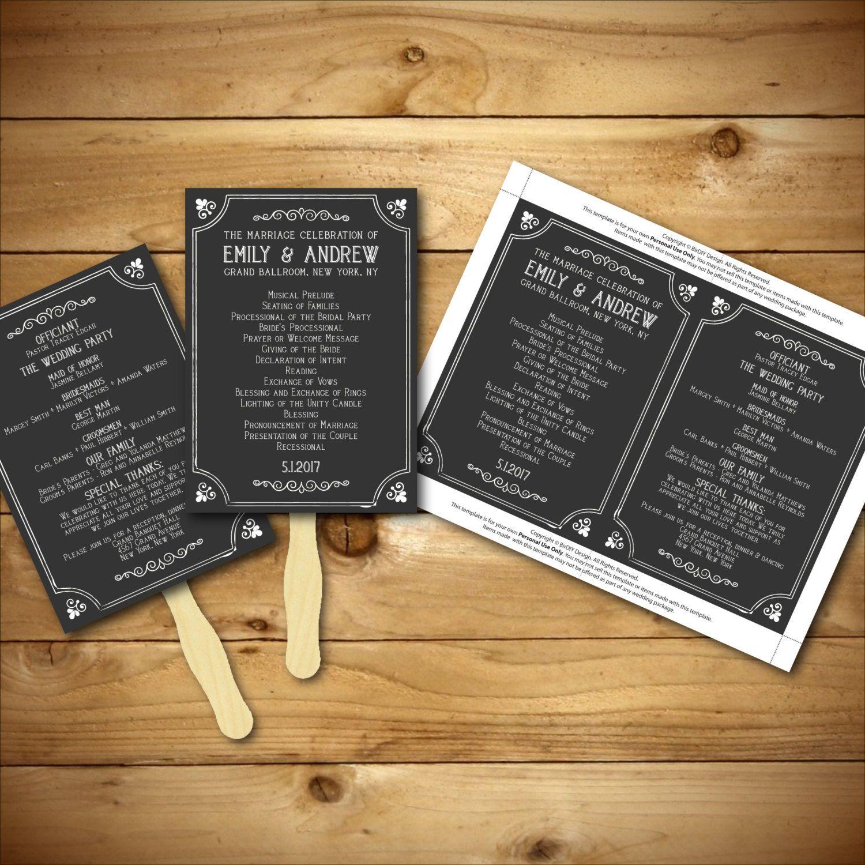 Printable wedding program template chalk style by birdiydesign