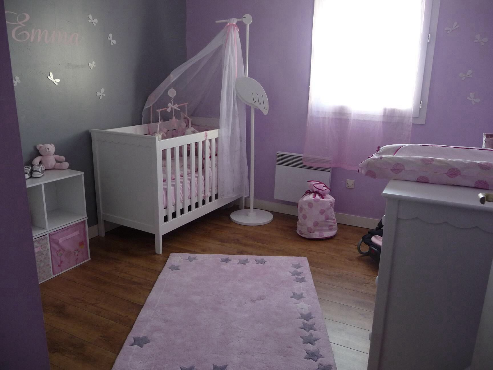 Chambre fille parme | Chambre | Chambre bébé fille rose et gris ...