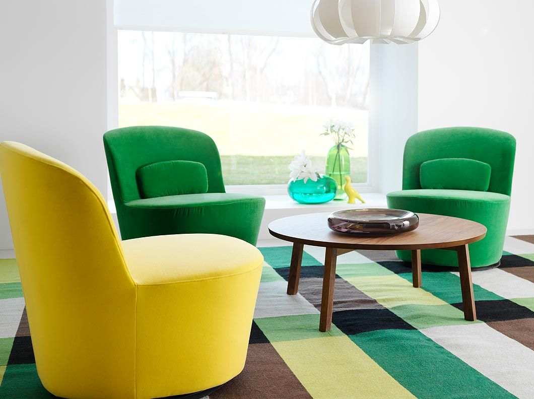 STOCKHOLM swivel easy chairs in Sandbacka yellow and green with STOCKHOLM  round coffee table in walnut  Ikea 2014Living Room SofaLiving  STOCKHOLM swivel easy chairs in Sandbacka yellow and green with  . Round Sofa Chair Living Room Furniture. Home Design Ideas
