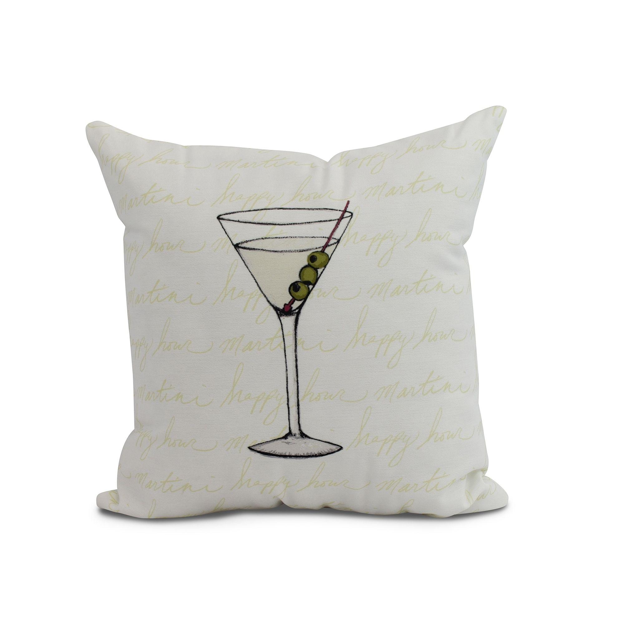 x inch martini glass text fade geometric print outdoor pillow