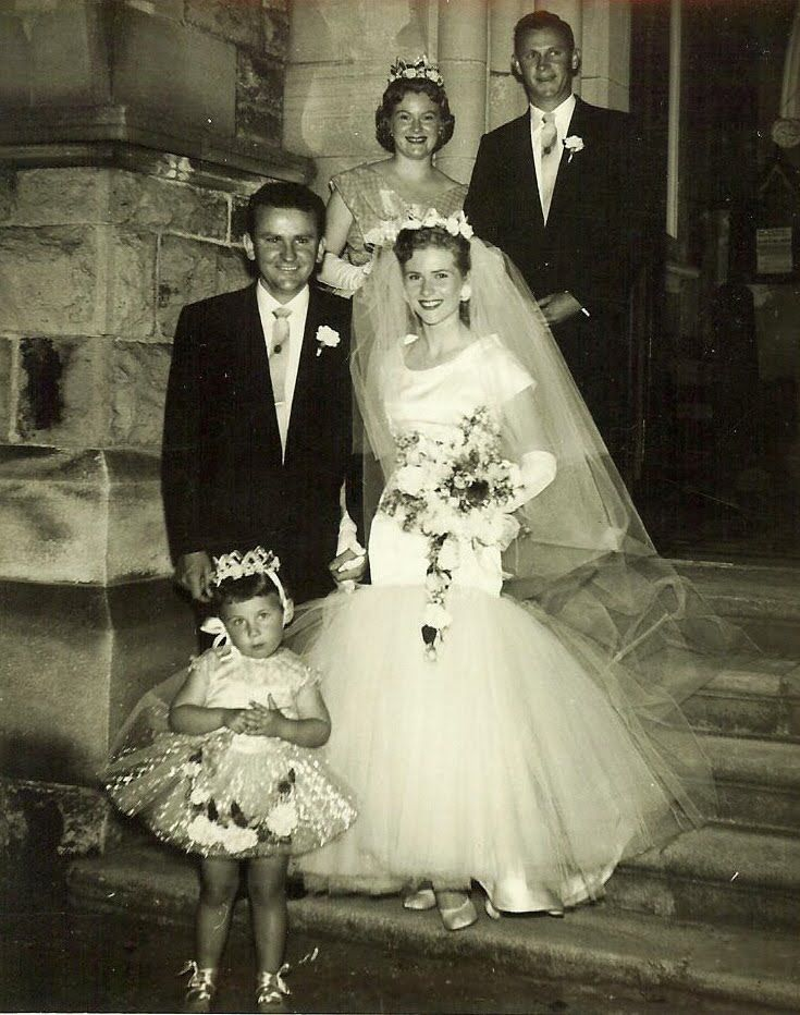 8bb81c2651c 1958 - Look at the flower girl. lace up shoes - crowns on their heads.