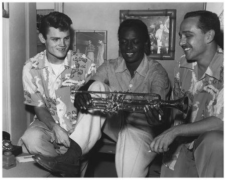 Chet Baker with Miles Davis and Rolf Erickson Los Angeles 1952 Photo Ray Avery