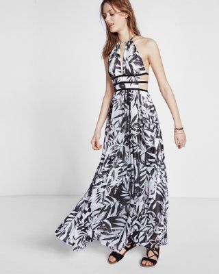 9f49d4a50a tropical print strappy cut-out plunge maxi dress