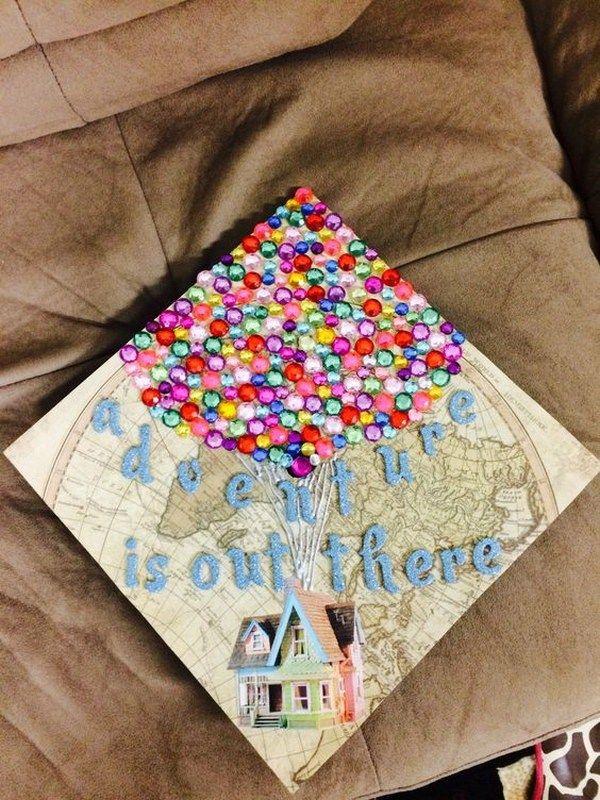 Colorful Gems Balloon Map Graduation Cap. 30+ Awesome Graduation Cap Decoration Ideas.