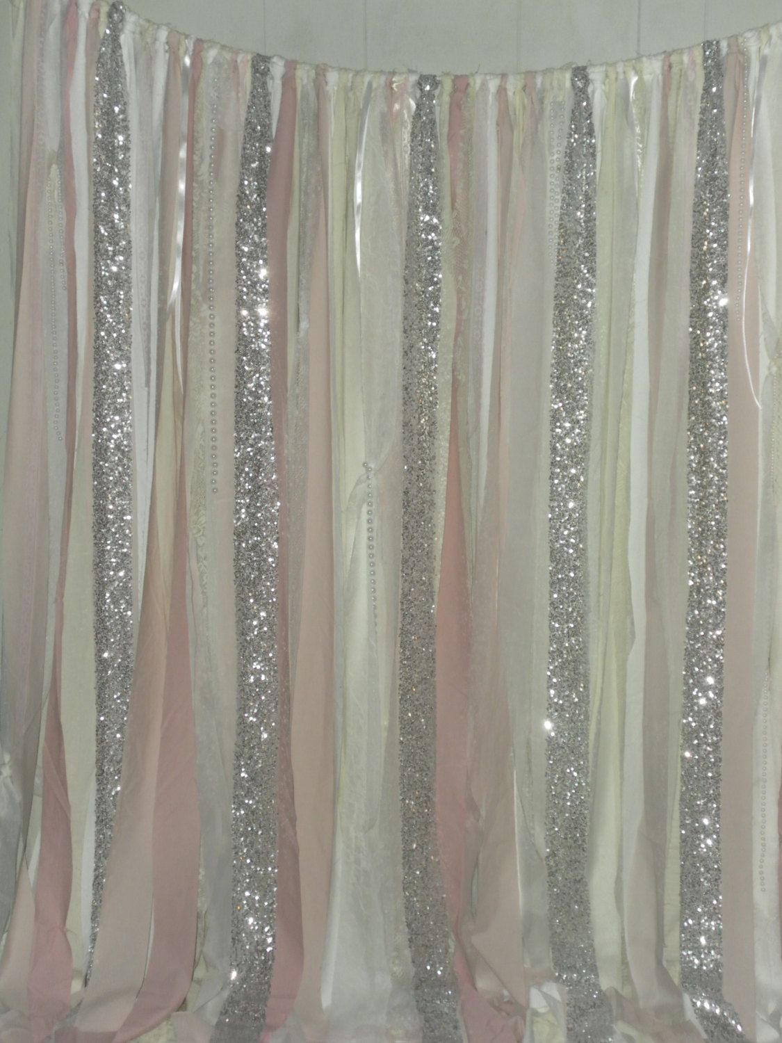Blush Backdrop Silver Sequin Curtains Fabric Rag Garland Nursery Ribbon Pink Gray White Ivory