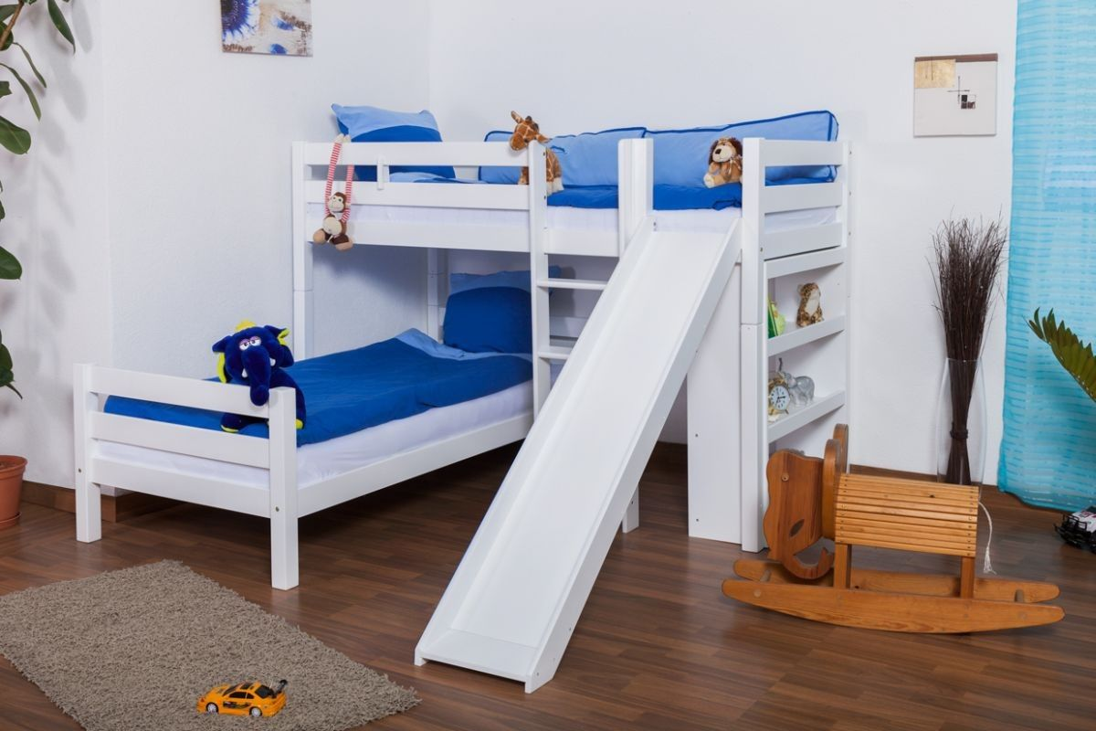 £602.90 LShaped Bunk bed Moritz, solid beech wood, with